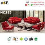 Sofá moderno do couro genuíno da cor-de-rosa da mobília da boa qualidade ajustado (HC229)