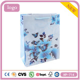 Het Winkelen van het Suikergoed van de Bloemen en van de Vlinders van het met een laag bedekte Document Blauwe Zoete Gift Bag