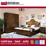 Novas e modernas de madeira cama em pele genuína com a madeira maciça Fram para Sala Escura como819