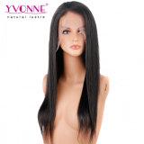 100% Natural de pelo humano encaje recta peluca