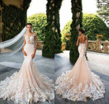 Real Champagne Wedding Dress Laces Tulle Mermaid Pink Wedding Gowns