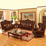 Home sofá de cuero con mesa de café (610)
