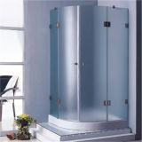 A casa de banho privada com chuveiro de Aço Inoxidável Hingd sem caixilho canto da caixa