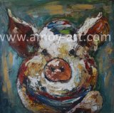 マルチカラーかわいいブタの油絵の動物のキャンバスの芸術の西部のアメリカの農場の芸術