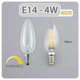 Lâmpada lâmpada de filamento grosso de fábrica 4W E14 Luz de Velas LED