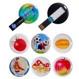 Kundenspezifischer runde Form-Plastikkarten-Blitz USB mit farbenreichem Firmenzeichen