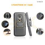 Kasten-Blende Kickstand Pistolenhalfter-kombinierter Kasten der Rüstungs-TPU+PC hybrider für Motorola E5 Supra/E5plus