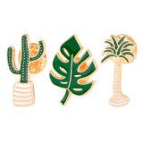 승진 관례 다른 녹색 식물 금속 사기질 접어젖힌 옷깃 Pin