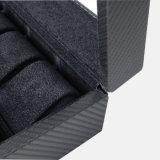 Оптовая продажа коробки хранения вахты кожи PU волокна углерода