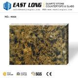 Piedra artificial del cuarzo con el vidrio chispeante negro de Brown para Countetops
