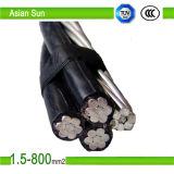 el PVC de aluminio de la base 0.6/1kv, XLPE aisló el cable aéreo del ABC del manojo