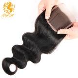Virgen del pelo humano 4 * 4 del encierro del cordón de la onda del cuerpo