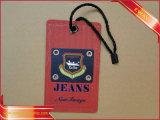 Jeans-Hangtag gedruckte Gewebe-Fall-Marke mit Nylonzeichenkette