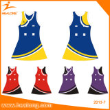 Robes bon marché de Netball de combinaison de femmes de sublimation jaune de couleur de Healong