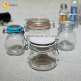 Almacenaje de cristal de la especia de la tapa del clip que preserva los tarros con el casquillo de cerámica