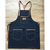Kundenspezifische Qualitäts-Marine-Denim-Herrenfriseur-Schutzbleche mit Hilfsmittel-Taschen