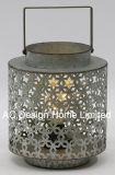 Ronda decorativos vintage de metal galvanizado Linterna de camping con LED Bombilla