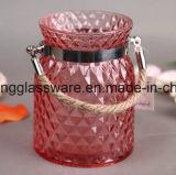 Copo de vidro do cristal do ofício, castiçal de vidro para a decoração do casamento