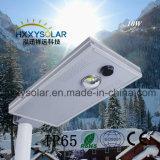 IP65 Longa durabilidade integrada de 10 W tudo em um jardim de LED de luz da Rua Solar Iluminação de exterior