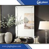 Vidro espelho de prata sem moldura com borda polida para banheiro, espelho de lavatório com cabides metálicos