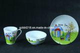 Dinnerware porcelana definido para as crianças, Conjunto de 3