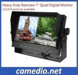 """Монитор цифров квада сверхмощного Rearview 7 """" для землечерпалки, крана, тележки, грузовика, корабля фермы, пожарной машины, трейлера, смесителя"""
