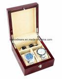 Caja de embalaje del reloj del doble del palo de rosa en madera