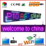 O computador ao ar livre WiFi do USB da sustentação da varredura da polegada x8 '' 1/4 da cor P10 cheia 52 '' edita para o indicador de diodo emissor de luz dos media de anúncio