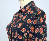 Flor de OEM Imprimir manga larga longitud de tobillo High Low volante vestimenta informal