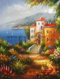 El paisaje mediterráneo hechas a mano de pintura al óleo