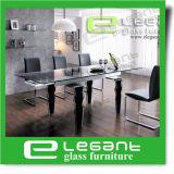 De moderne Eettafel van het Roestvrij staal met de Aangemaakte Bovenkant van het Glas
