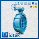 Válvula de mariposa excéntrica del eje de Didtek de gusano del triple de una pieza del engranaje