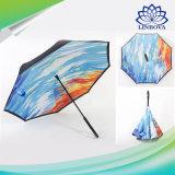 Bunter doppelte Schicht-umgekehrter Regenschirm-Autosreversible-Regenschirm