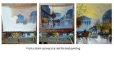 ハンドメイドの冬のシラカバの景色のパレットナイフの油絵