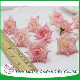 La simulación de la cabeza de rosas rosas flores artificiales de tela de seda DIY