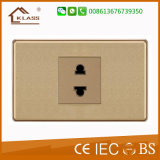 Socket de potencia eléctrico doble de oro de la pared de 2 Pin