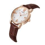 Relógio da alta qualidade do movimento de Japão do relógio do couro genuíno do relógio da caixa do aço inoxidável/liga