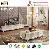 Sofà di legno della mobilia classica antica con cuoio genuino (HC826)