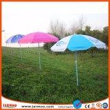 直接デジタル印刷の工場日曜日浜の屋外の傘
