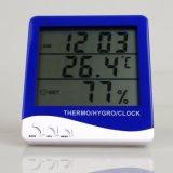 큰 실내와 옥외 온도 및 습도 온도계