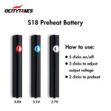 Ocitytimes 380mAhの調節可能な電圧S18はVapeのペン電池を予備加熱する