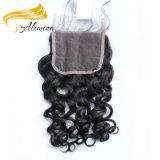 Fermeture en soie de dessus de lacet du meilleur des prix cheveu de Vierge