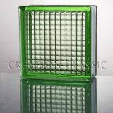 Seguridad de vidrio templado de color verde paralelo bloque