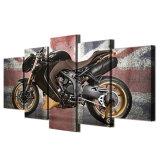 Искусствоо стены холстины изображает домашний декор на живущий комната 5 частей рамок плаката картины мотоцикла великобританского флага ретро напечатанных HD