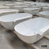 Роскошный белый камень полимера отдельно стоящая ванна с функцией массажа (BT170816)