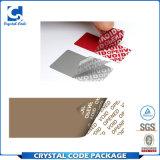 Escritura de la etiqueta evidente de la etiqueta engomada de la seguridad del pisón adhesivo del vacío