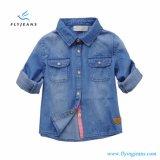 Camicia lunga del denim del manicotto del cotone di modo per le ragazze con la doppia casella dai jeans della mosca