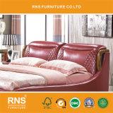 [أ1039] تصميم حقيقيّة خشبيّ كلاسيكيّة أحمر وحيدة جلد سرير