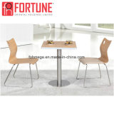 Fabricante de madeira de alimentação restaurante de fast food mesa e cadeira para venda (FOH-BC05)