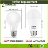 A luz do dia equivalente 5000K branco das ampolas do diodo emissor de luz do bulbo 13.5W 100W de Non-Dimmable A19 com UL alistou